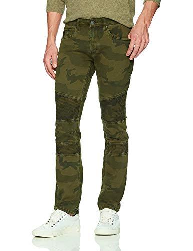 Green Stone Capris (Buffalo David Bitton Men's Max-x Skinny Fit Stone Washed Denim Pant, Army Green camo, 34x32)