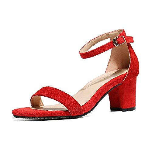 Sandalias Zapatos Palabra Red Hebillas Mujeres De Tacones Grueso Alto Altos Tacón Vivioo dIRw86qR