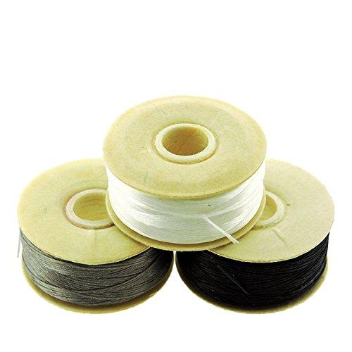 Nymo Nylon Beading Thread Size D for Delica Beads, 64 Yards per Bobbin, White, Grey & Black (Pack of 3 bobbins)