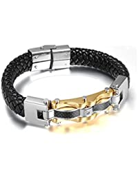 Pulseras De Hombre Titanium Enchapada en Oro Bracelets Men Unisex Jewelry PL0044