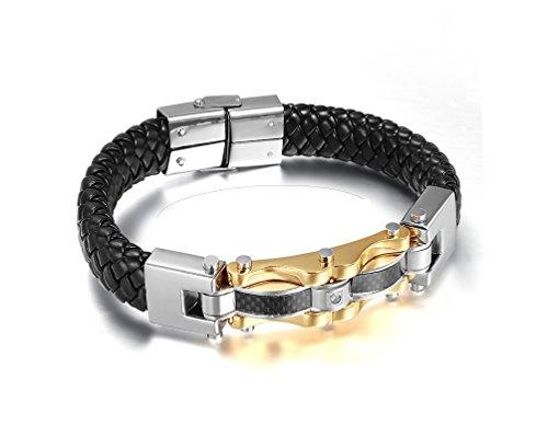 Euromen Pulseras De Hombre Titanium Enchapada en Oro Bracelets Men Unisex Jewelry PL0044 (Joyeria De Hombre)