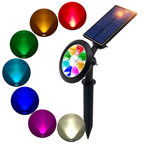 BOHON Solar Lights Outdoor - Ultra Bright, Waterproof, 9 LEDs Multi Color Spot Light with Auto On/Off, Solar Garden Light for Landscape Lighting Yard Patio Pathway (Changing & Fixed - Spot Tree