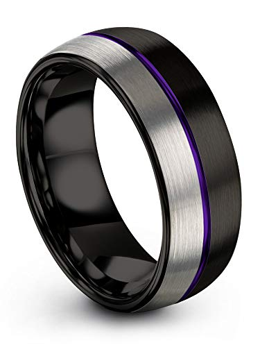 Chroma Color Collection Tungsten Carbide Wedding Band Ring 8mm for Men Women Purple Center Line Black Interior with Dome Grey Exterior Half Brushed Polished Comfort Fit Anniversary Size 14
