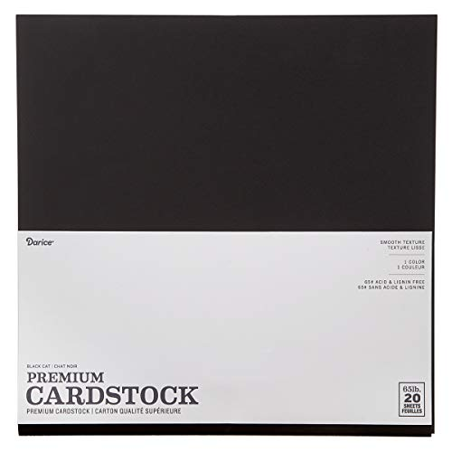 Darice Core'dinations Value Pack Cardstock, 12 by 12-Inch, Smooth Black Cat, 20-Pack (Black 12x12 Cardstock)