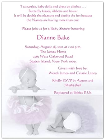 Amazon Com 2 Ballerina Babies Baby Shower Invitations Set Of 20
