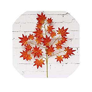 12pcs Artificial Leaf Decoration Fake Leaves Plastic Tree Branches Simulation Silk Flower Banyan Leaves Ginkgo biloba Wedding,2 80