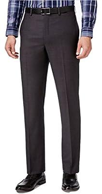 Calvin Klein Slim Fit Charcoal Neat Flat Front New Men's Dress Pants