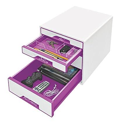 Leitz Buc de cajones CUBE A4 WOW 52132044 Blanco//Naranja metalizado Rotulador y bandeja organizadora transparente incluidos 4 cajones