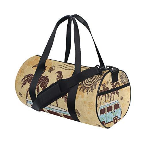 Duffel Bags Old Fashion Bus Palm Tree Sun Mandala Womens Gym Yoga Bag Small Fun Sports Bag for Men