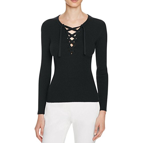 Theory Womens Coryntha Lace-Up Neckline Solid Sweater Black L