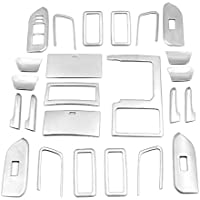 Rupse Stainless Steel Refitted Car Interior Handle Door Bowl Central Dashboard Trim Kit for 10-16 Toyota Prado 24PCS Set
