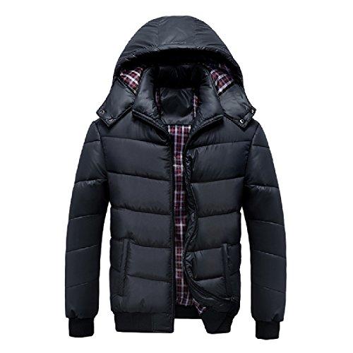 Men's Jacket Front Hood with Thicken Zip Mogogo Coat Warm Black Color Solid dvwUqW