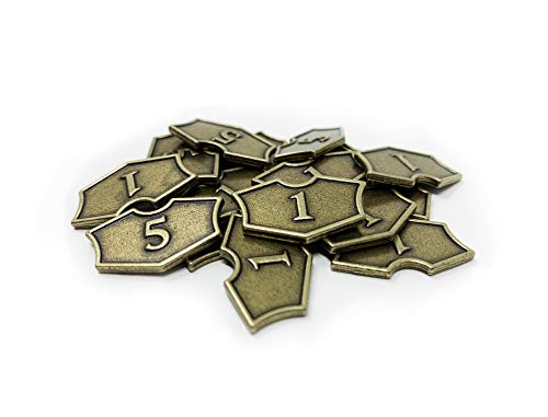 (Set of 20 Metal MTG Loyalty Counters by Citadel Black - with Velvet Drawstring Pouch, Antique Gold Finish Metal Tokens, Magic: The Gathering)