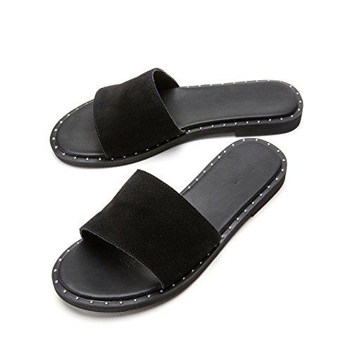 moda tacco DHG a da piatti 38 tacco Nero donna estivi Sandali alti casual Sandali Sandali alla con Pantofole basso Tacchi basso pxZ6Yxqw