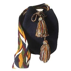 Wayuu Cute Crossbody Bags for Women Tribal Shoulder Crochet Handwoven Mochila (SOLID)
