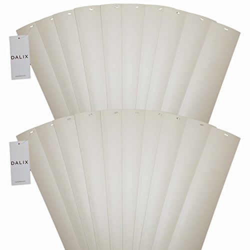 DALIX PVC Vertical Blind Replacement Slats Curved Smooth Ivory 70.5 Length 20 Pack ()