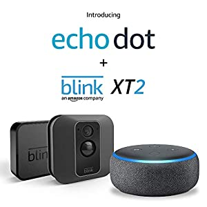 Echo Dot (Charcoal) with Blink XT2 Outdoor/Indoor Smart Security Camera - 1 camera kit