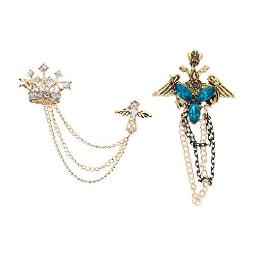 Swarovski Scarves - Huture 2Packs Men's Gold Crown Brooch Bronze Cross Brooch with Blue Diamond Badge Lapel Pin for Career Suit Tuxedo of Shirts Tie Hat Scarf for Boyfriend Father Birthday