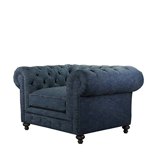 Curations 7841.0004 Cigar Club Denim Chair, Normal, Blue Club Chair Denim