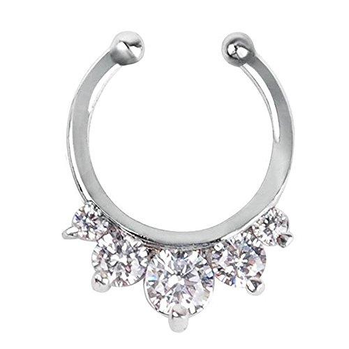 1 Stck Ringe Vorhänger Womens Girls Septum Clicker Ring Fake Non-piercing Nase mit einem Line-Strass für Frauen Girls Teens, wählen Sie eine jetzt! (Golden ) (Silber)