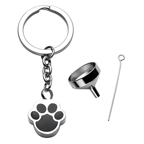 PiercingJ Free Engraving - Personalized Custom Stainless Steel Pet Cat Dog Paw Container Urn Memorial Pendant Keychain Ash Keepsake Cremation Jewelry Funnel Fill ()