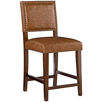 Amazon Com Linon Brook Counter Stool Caramel Kitchen