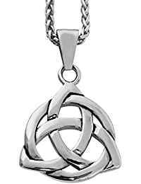 "Mens Stainless Steel Celtic Knot Irish Triquetra Pendant Necklace, 24"""