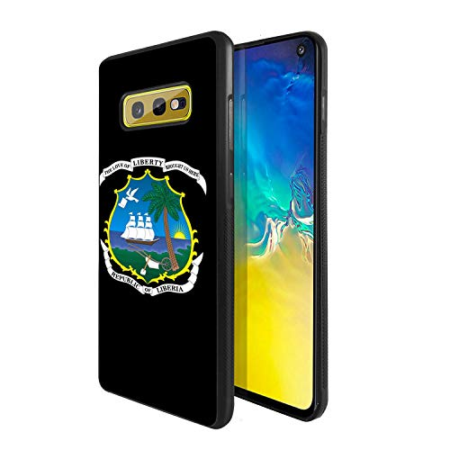 Soft Rubber Silicone TPU Anti Slip Edge and Hard Bottom Shell Case Compatible with Galaxy S10e / SM-G970 - Coat of Arms of Liberia ()