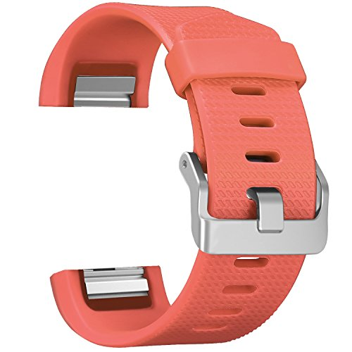 (SKYLET for Fitbit Charge 2 Bands, Replacement Bands for Fitbit Charge 2 Bracelet Solid Colors with Secure Watch Clasp (No Tracker) [Large, Orange])