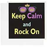3dRose CMYK Keep Calm Parody Hipster Crown, Sunglasses - Greeting Cards, 6 x 6