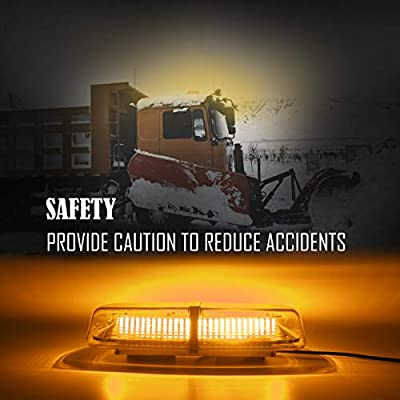 LE-JX Amber Strobe Beacon Roof Top Mini Emergency Light Bar 72 Leds 12-24 Volt with Magnetic Base Surface Mount Warning Caution Strobe Lights for Trucks Cars Vehicles Snow Plow Safety Law Enforcement: Automotive