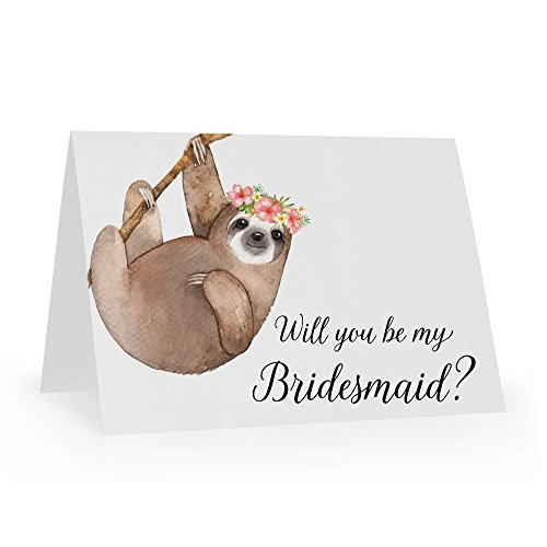 Will You Be My Bridesmaid Card, Sloth Wedding Party Proposal Card, Maid of Honor, Flower Girl, Wedding Attendant, Size A1 Gift Card ()