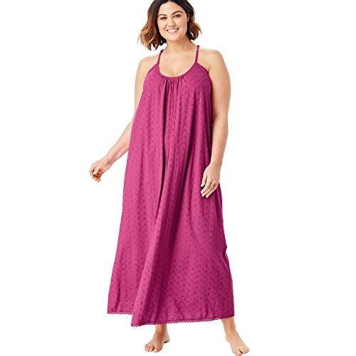 Dreams & Co. Women's Plus Size Breezy Eyelet Knit Long Nightgown - Bright Berry, 18/20
