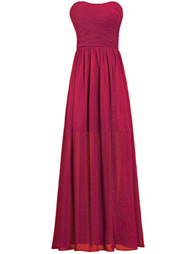 Gown Women's Burgundy Chiffon Party Bridesmaid Strapless ANTS Dress Long Z061qvq