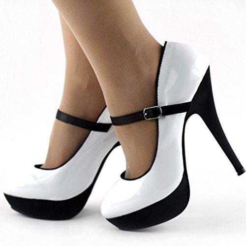 tons de noir histoire chaussures deux Afficher stiletto LF30456 Sexy pompe sangle forme cheville Blanc plate Ya5Z0