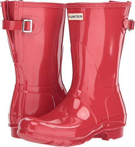 Womens Shoe Red Gloss (Hunter Women's Original Back Adjustable Short Gloss Rain Boots Flare 6 M US M)