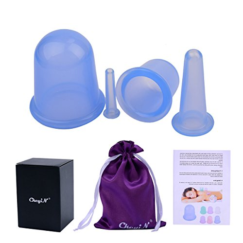 Ckeyin 4pcs Silicone Neck Face Body Massage Cupping Cups