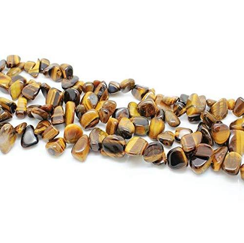 Ochoos QuartzRutilated Irregular Gravel Beads Black Hair Quartz Natural Crystal Stone Chips Beads Quartz Rutilated DIY Jewelry Making - (Color: Tiger Stone Chip) ()