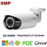 NightKing Outdoor 5MP IP POE Security Camera, 5.0Megapixel 2592x 1944P Super HD Bullet Home Video Surveillance Camera, 130ft Night Vision, IP65 Waterproof, Motion Alert