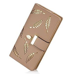 Women's Long Leather Card Holder Purse Zipper Buckle Elegant Clutch Wallet (Khaki)