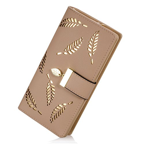 PGXT Women\'s Long Leather Card Holder Purse Zipper Buckle Elegant Clutch Wallet (Khaki)