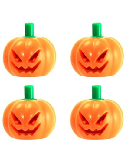 LEGO Halloween Pumpkin with Green Stem Jack O' Lantern Headgear Minifigure Accessory Pack of 4