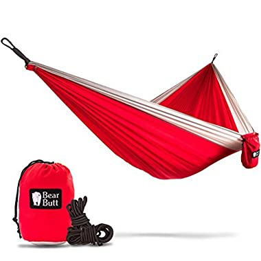 """Bear Butt #1 Double Parachute Camping HammockSTART UP COMPANY  Shaking The Eagle Out Of The Nest Since 2015"""" (Red / Gray)"""