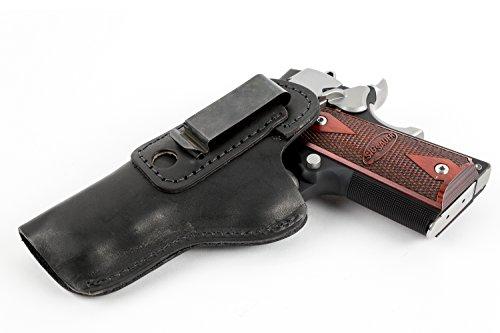 Relentless Tactical The Defender Leather IWB Holster - Fits Most 1911 Style Handguns - Kimber - Colt - S & W - Sig Sauer - Remington - Ruger & More - Made in USA - Black Left Handed (M1911 Holster Colt)