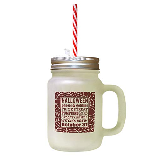 Maroon Halloween Ghosts & Goblins Trick 10 Treat Pumpkins Boo Creepy Crawly Witch'S Brew October 31 Frosted Glass Mason Jar With Straw ()