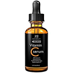 Radha Beauty Vitamin C Serum for Face, 2 fl. oz - 20% organic Vit C + E + Hyaluronic Acid