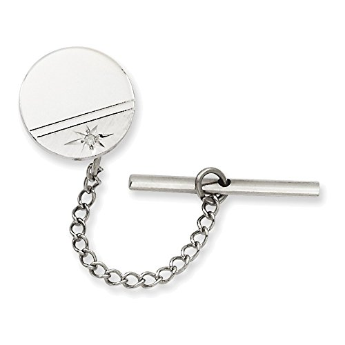 Jewelry Adviser Gifts Rhodium-plated Kelly Waters .01 Ct. Diamond Polished Florentine Tie Tac