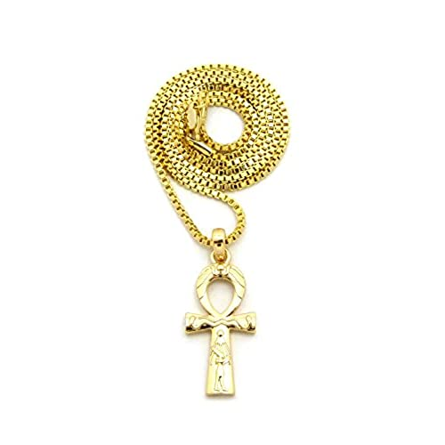 "Unisex Egyptian Bretah of Life Ankh Pendant 18"",20"",24"" Various Chain Necklace in Gold Tone"