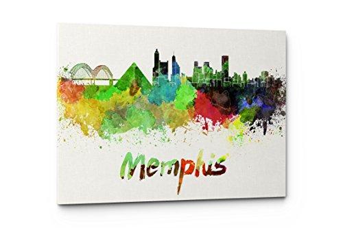 Watercolor City Splash Skyline Wall Art Canvas Print (Memphis) by Emin Decor