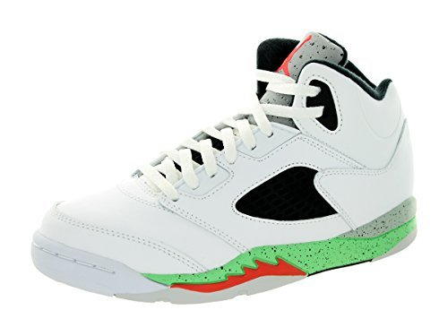 Jordan Nike Kids 5 Retro Bp Wht/Infrrd 23/Lt Psn Grn/Blck Basketball Shoe 2 Kids US (Jordan Kids 23 Shoes)